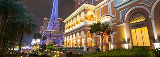 Venetian Macao Casino which includes a garden, a city and night scenes