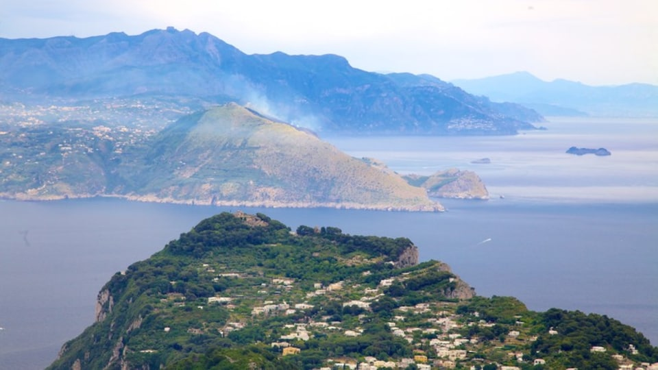Mount Solaro showing a coastal town, island images and general coastal views