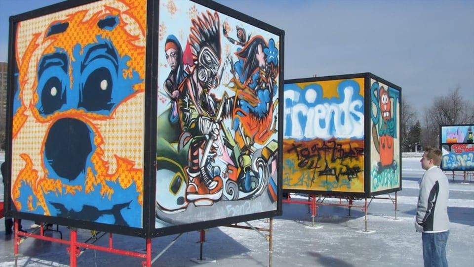 Rideau Canal featuring outdoor art, signage and snow