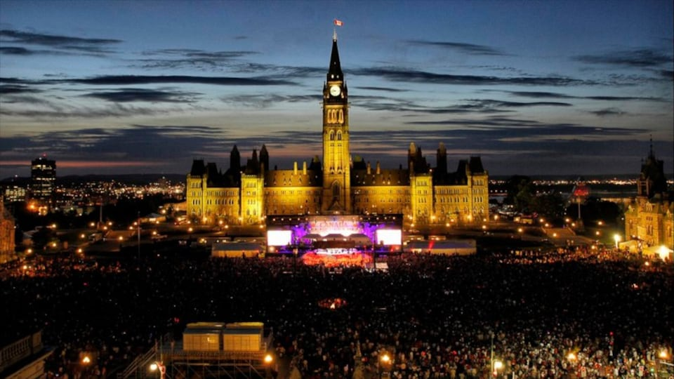 Parliament Hill featuring heritage architecture, a city and night scenes
