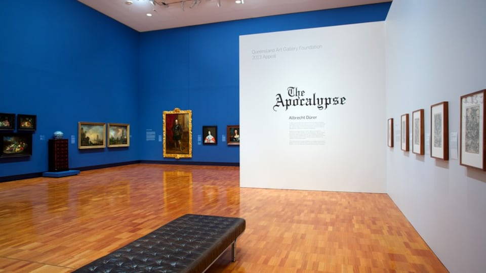 Queensland Art Gallery featuring interior views and signage