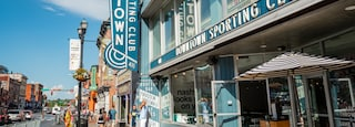 Downtown Nashville featuring signage and street scenes