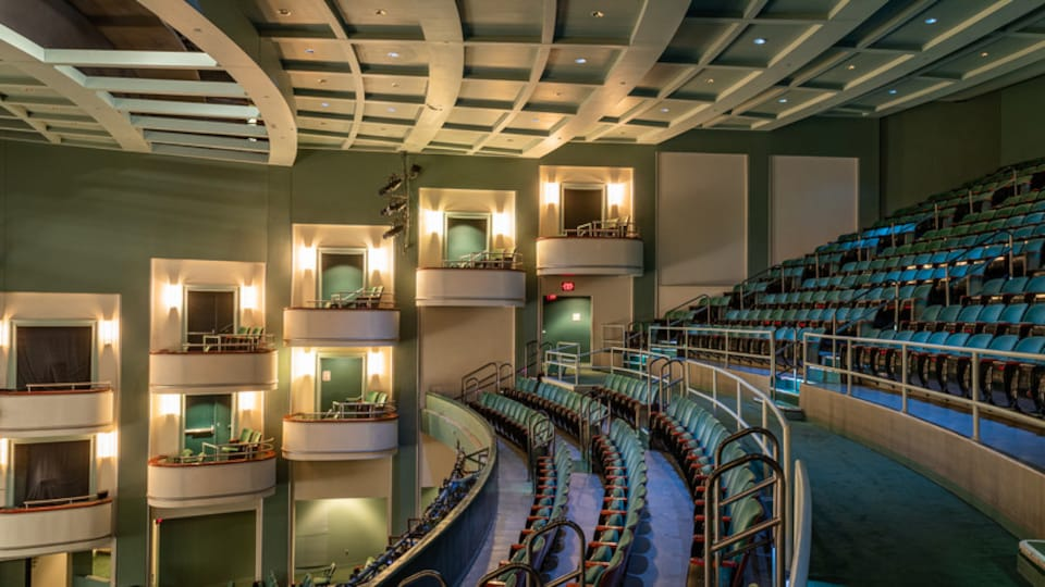 Harrison Opera House featuring theater scenes and interior views