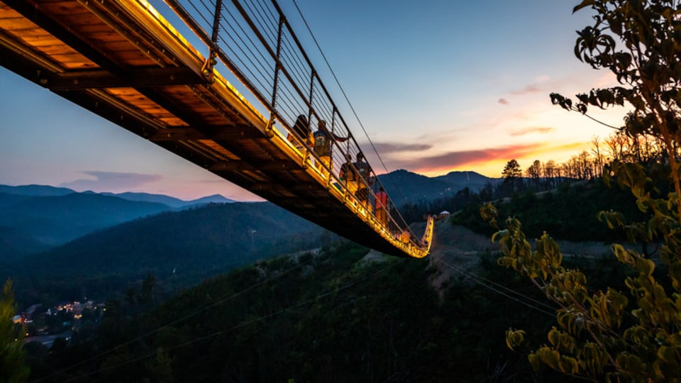 Gatlinburg featuring tranquil scenes, a sunset and a bridge