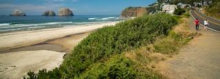 Oceanside featuring a sandy beach, island views and general coastal views