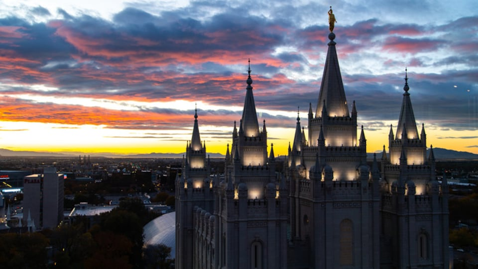 Northern Utah - Salt Lake City featuring heritage architecture, a city and a sunset