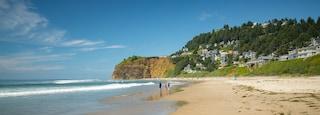 Oceanside showing a sandy beach, a coastal town and general coastal views