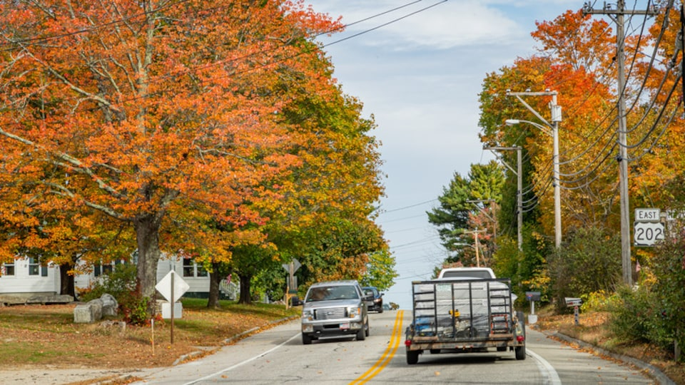 Windham which includes a small town or village and autumn leaves