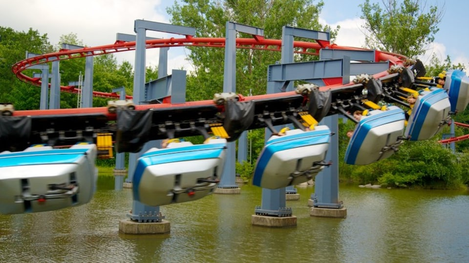 Canada\'s Wonderland featuring a pond and rides