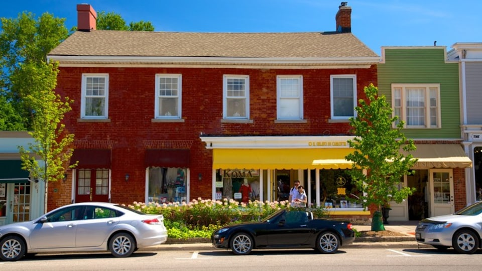 Niagara-on-the-Lake showing a small town or village and street scenes as well as a couple