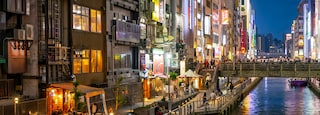 Dotonbori featuring a river or creek, a city and night scenes