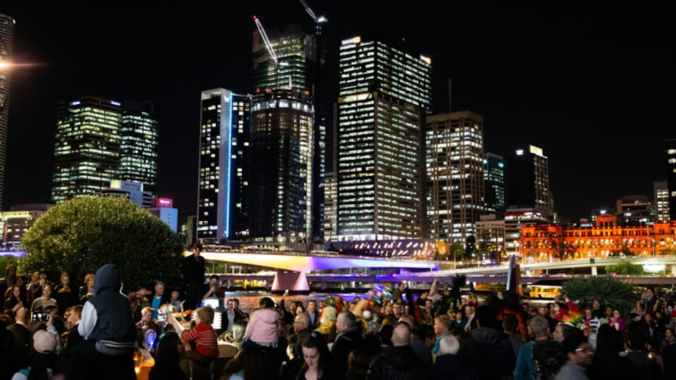 South Bank Parklands which includes a city, night scenes and nightlife