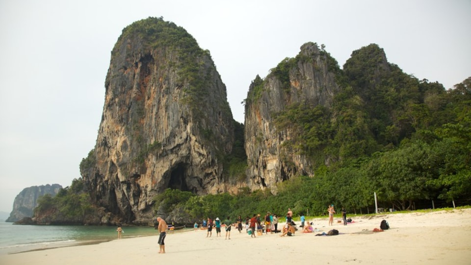West Railay Beach which includes a beach, a gorge or canyon and a bay or harbor