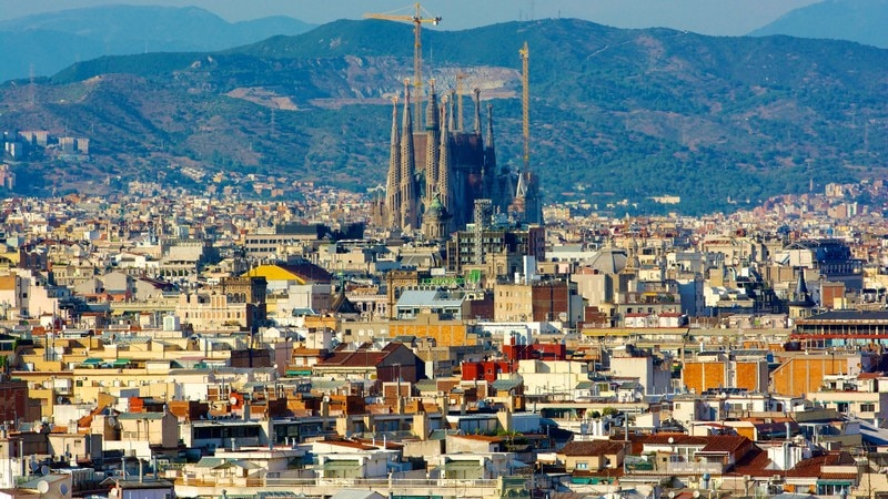 Sagrada Familia featuring a church or cathedral, a city and heritage architecture