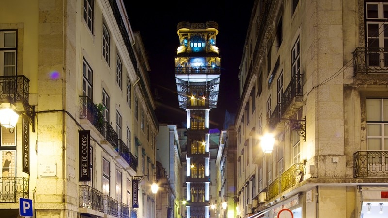 Santa Justa Elevator featuring a city and night scenes
