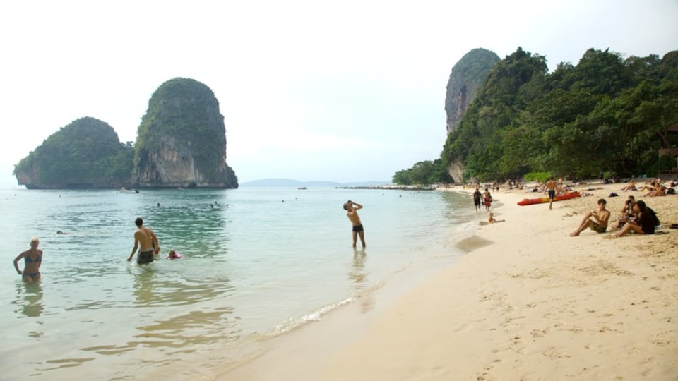 West Railay Beach showing swimming, a sandy beach and tropical scenes