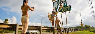 Haleiwa which includes signage as well as a small group of people