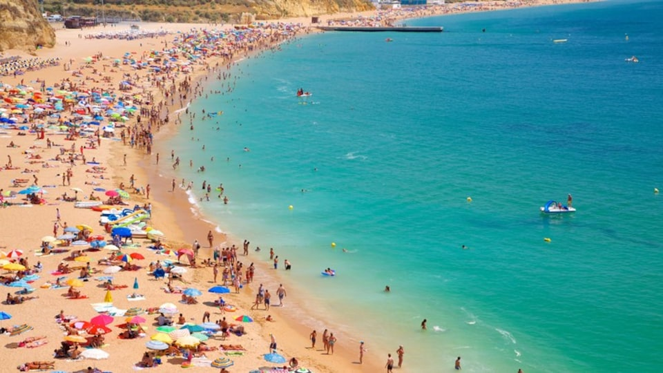 Albufeira showing swimming and a beach as well as a large group of people