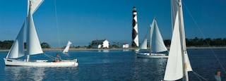 Morehead City which includes a lighthouse and sailing