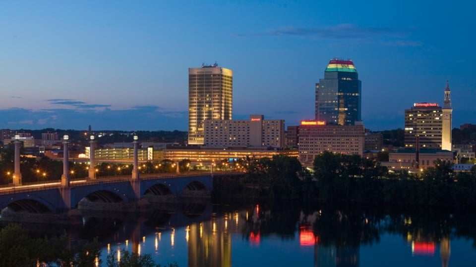 Springfield featuring night scenes, a high rise building and skyline