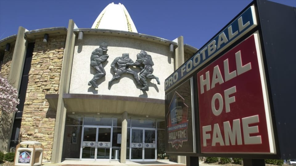 Pro Football Hall of Fame which includes signage