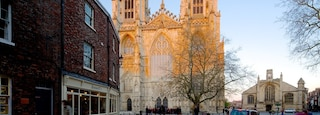 York Minster featuring a church or cathedral, heritage architecture and street scenes