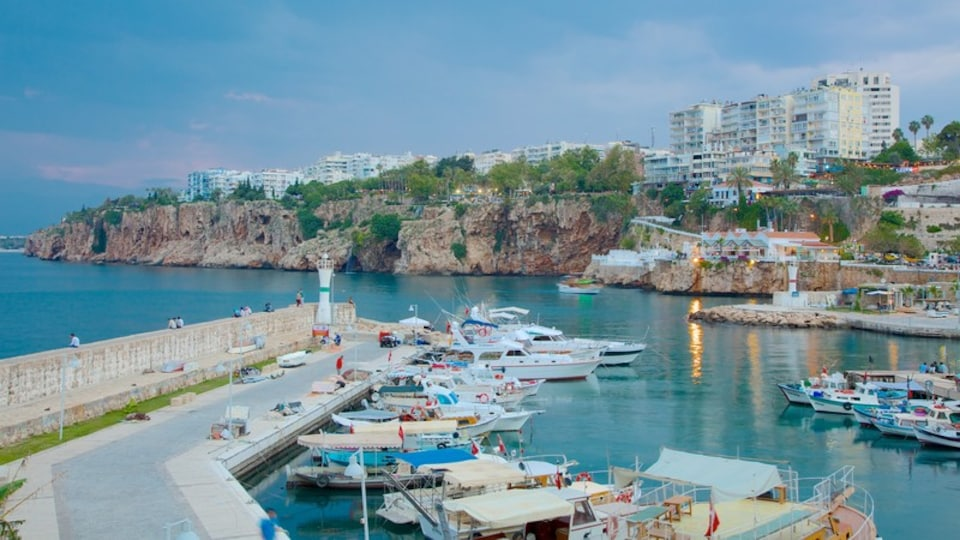 Antalya which includes a bay or harbor and a coastal town