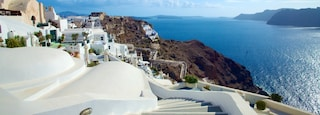 Oia featuring landscape views, a coastal town and general coastal views