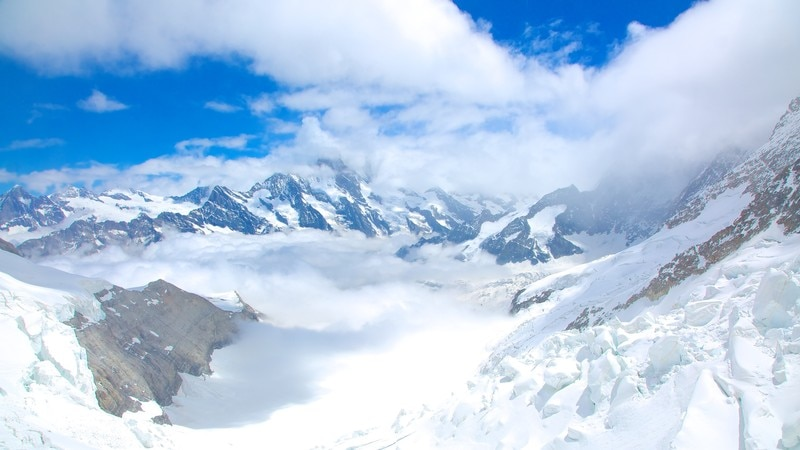 Jungfraujoch showing mountains, snow and landscape views