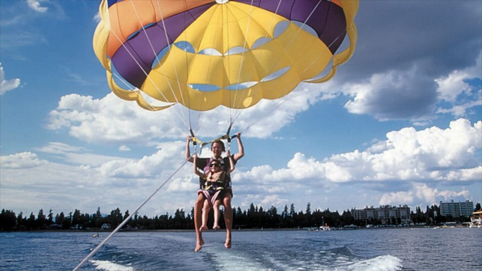 Coeur d\'Alene which includes parasailing and a lake or waterhole as well as a small group of people