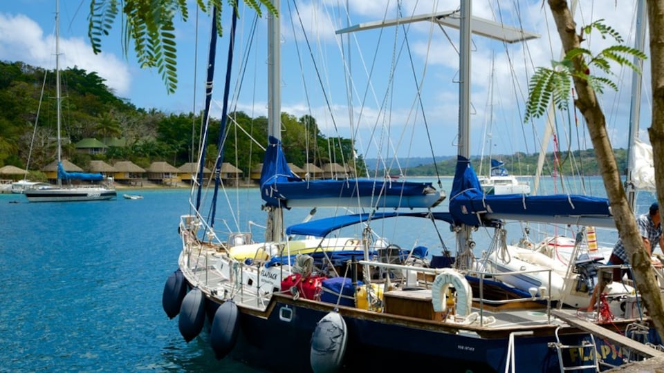 Port Vila which includes boating, a bay or harbor and general coastal views