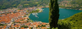 Como-Brunate Funicular showing a city, a bay or harbor and a coastal town