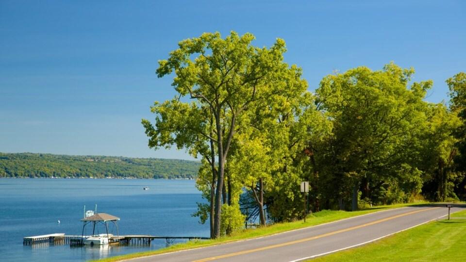 Seneca Falls featuring a coastal town and a lake or waterhole
