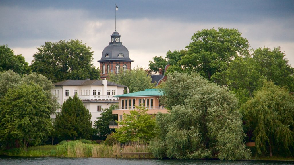 Potsdam featuring a pond, heritage architecture and heritage elements