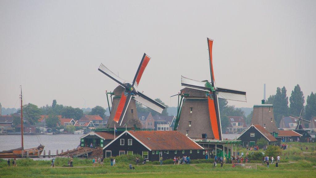 Zaanse Schans featuring a windmill and a coastal town
