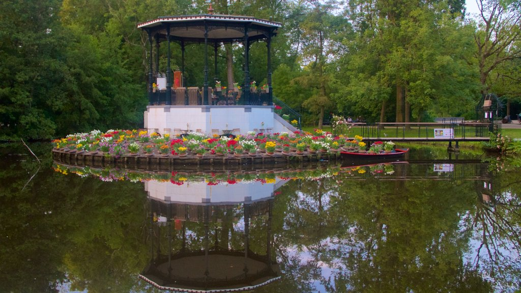 Vondelpark which includes flowers, a pond and a gondola