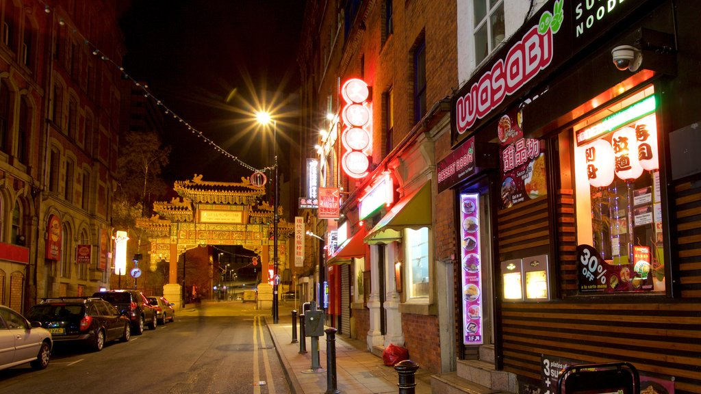 Chinatown featuring night scenes, signage and shopping