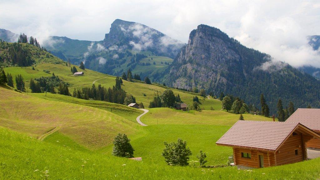 Alpes Berneses que incluye neblina o niebla, una casa y escenas tranquilas