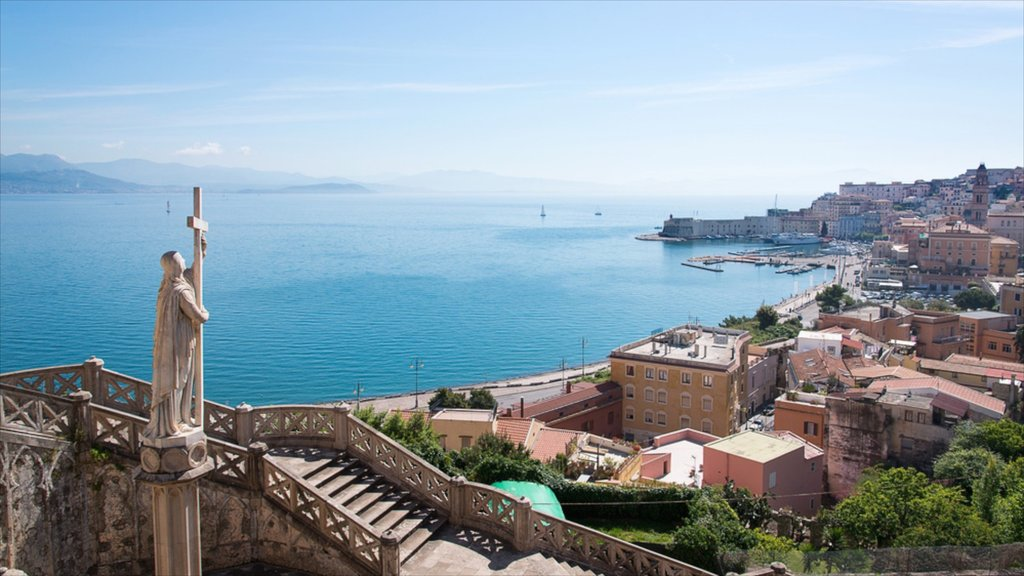 Gaeta featuring a statue or sculpture, a city and general coastal views
