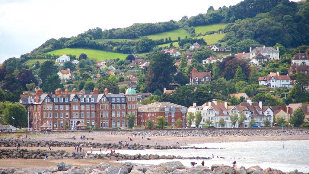 Minehead featuring a coastal town, general coastal views and a sandy beach