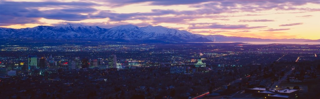 Salt Lake City Panoramic view with snow capped Wasatch Mountains