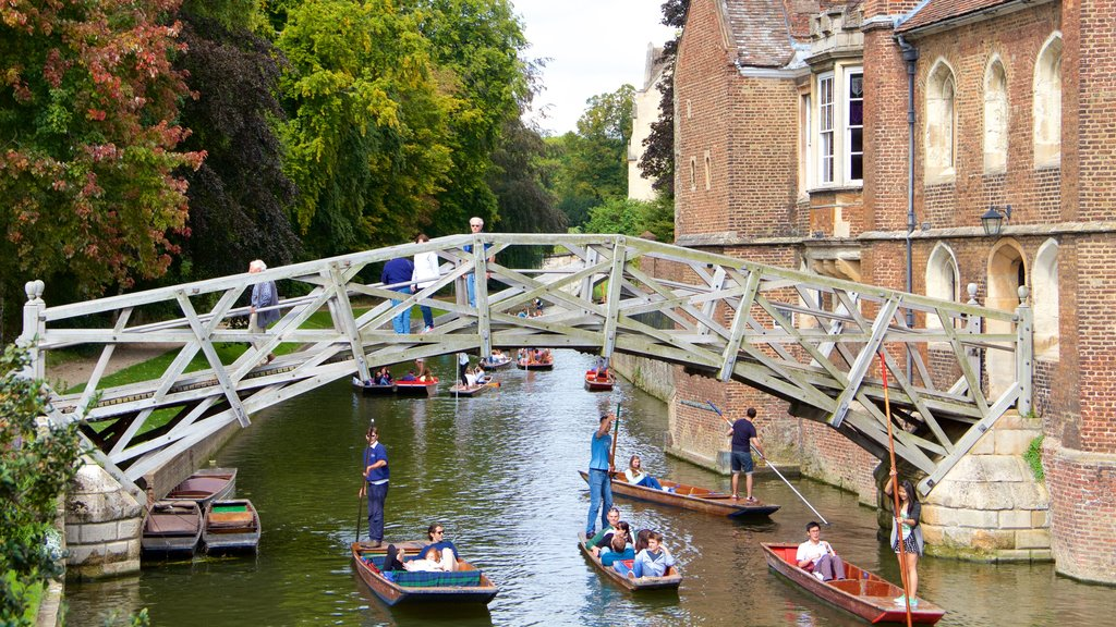 Mathematical Bridge featuring a lake or waterhole, a bridge and kayaking or canoeing