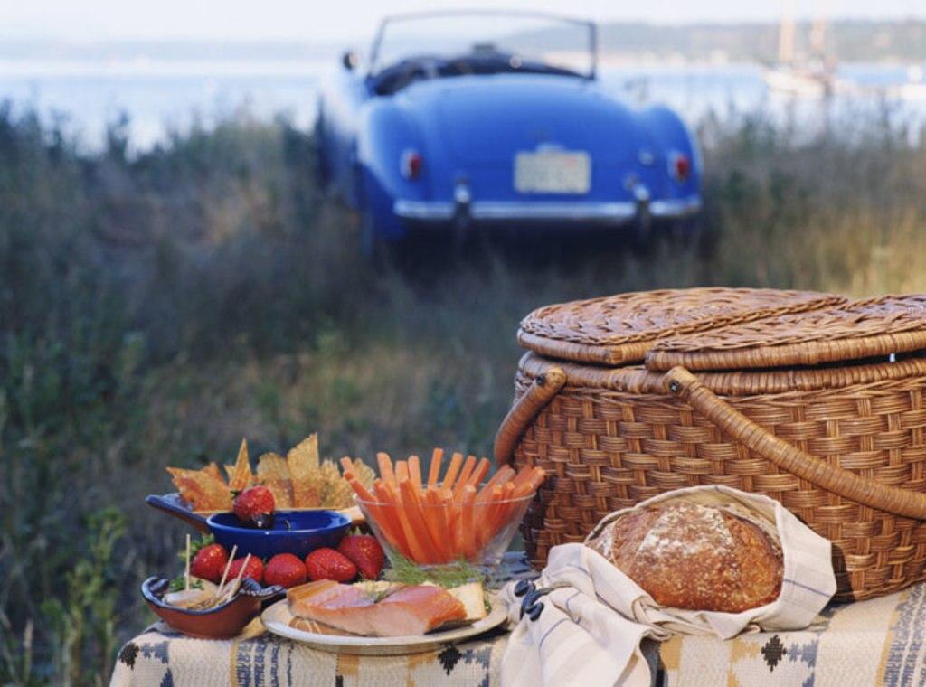 Picknick mit Auto im Hintergrund