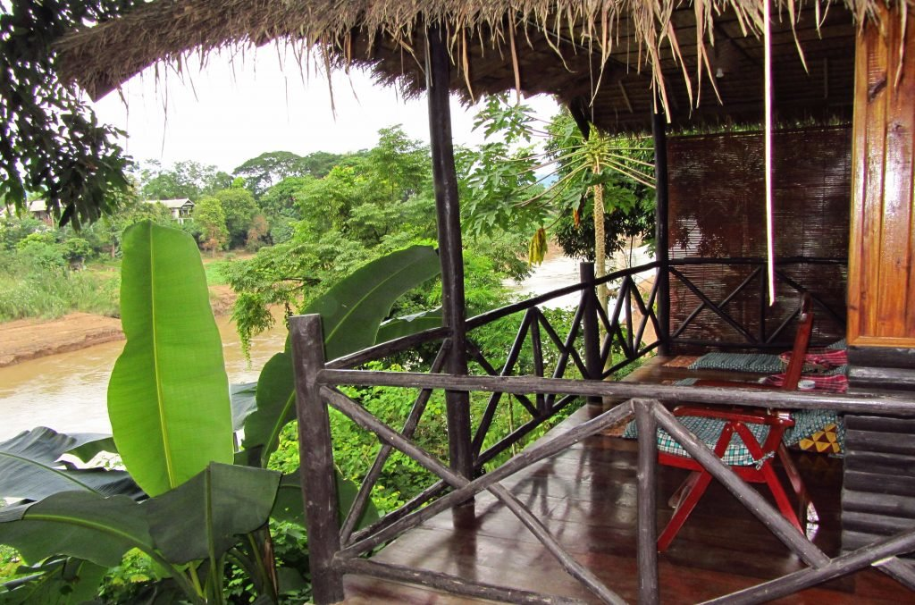 Ein Baumhaus über dem Mekong.