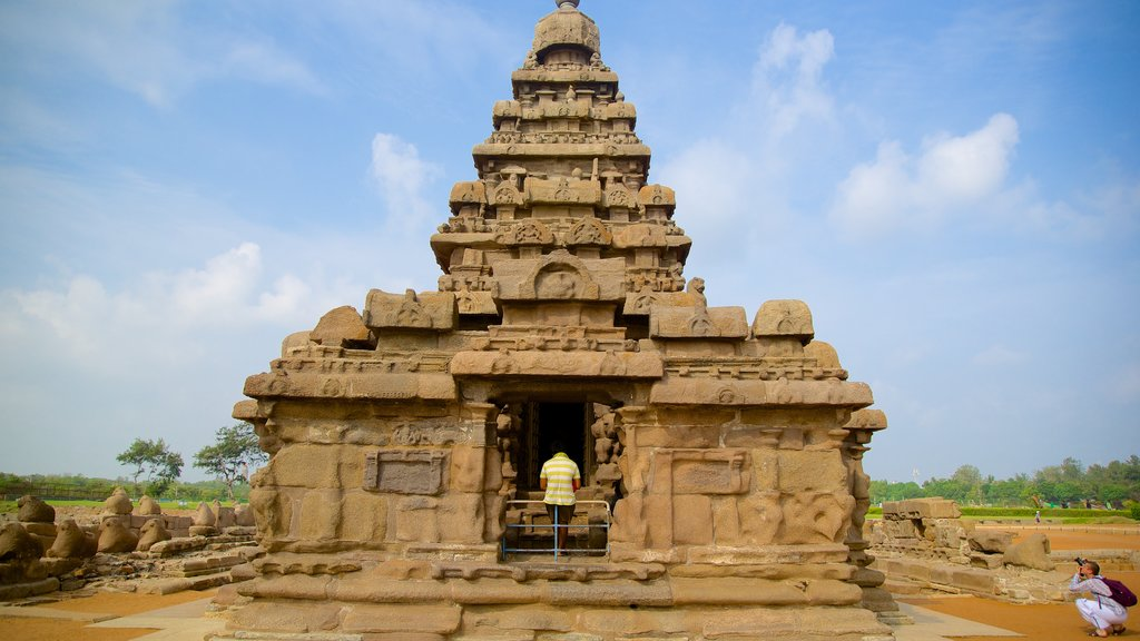 Shore Temple which includes a temple or place of worship and heritage architecture
