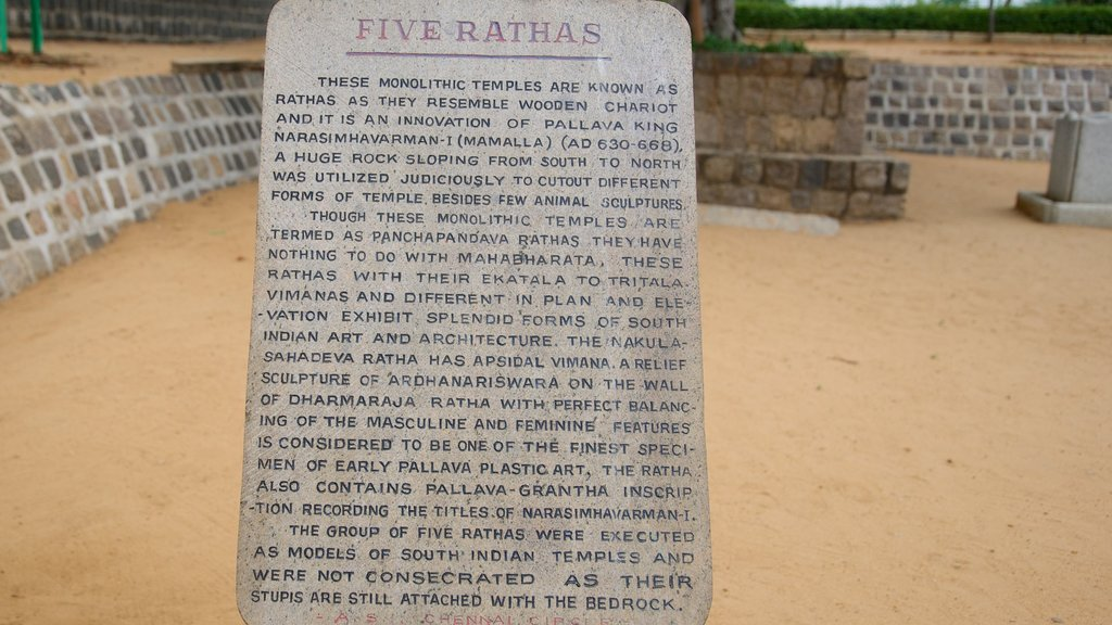Pancha Pandava Rathas which includes signage