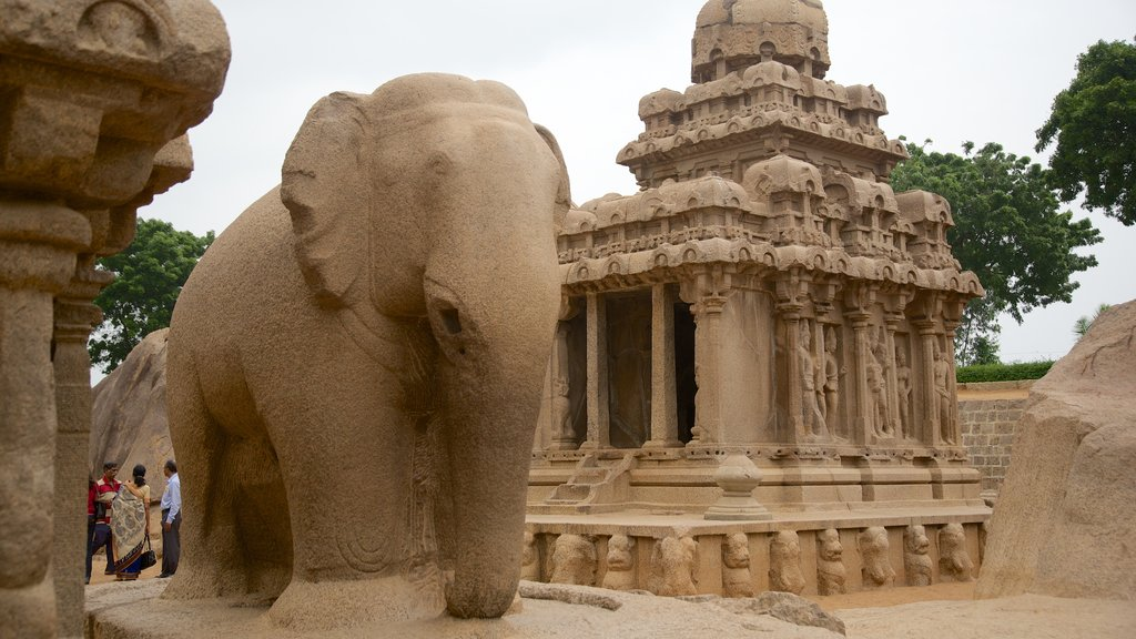 Pancha Pandava Rathas featuring a statue or sculpture and heritage elements
