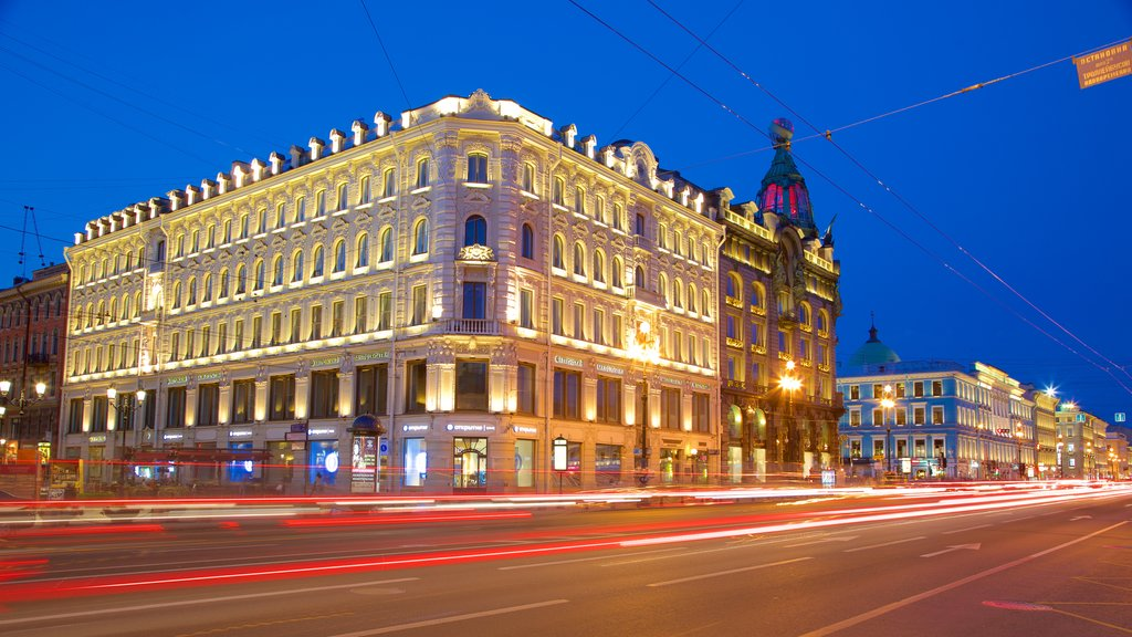 Nevskiy Prospekt which includes night scenes and a city