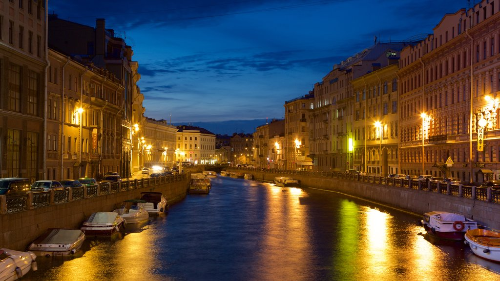 St. Petersburg which includes a city, a river or creek and night scenes