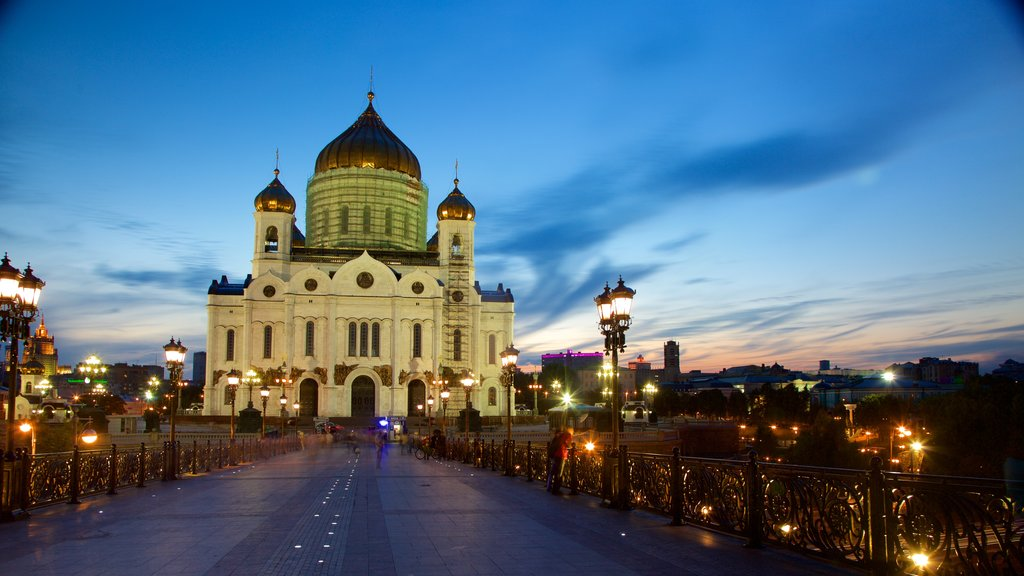 Cathedral of Christ the Savior featuring night scenes and heritage architecture